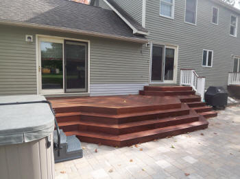 all ipe deck with stadium stairs after